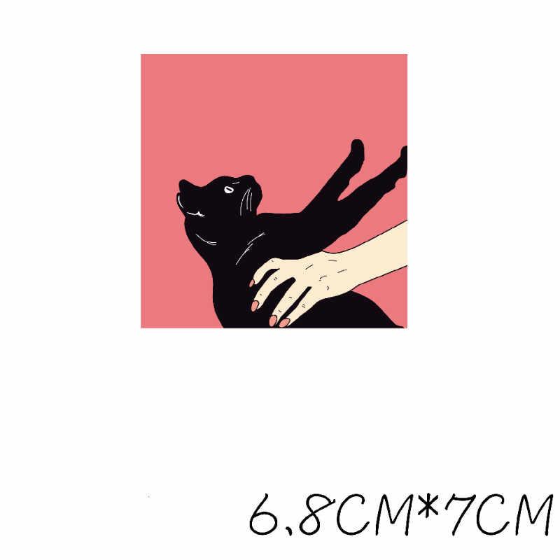Ferro na menina e gato remendos moda roupas diy camiseta apliques transferência de calor vinil desenhos animados adesivos de remendo imprensa térmica g