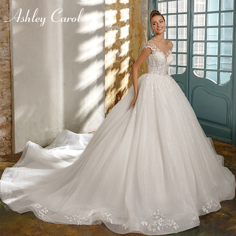 Ashley Carol Sexy Sweetheart Beading Shiny Princess Ball Gown Wedding Dress 2019 New Fashion Backless Chapel Train Wedding Gowns