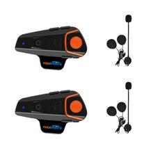 2pcs BT S2 Proรถจักรยานยนต์Intercomหมวกนิรภัยชุดหูฟังอินเตอร์คอมมอเตอร์ไซด์Interphone Interphoneกันน้ำวิทยุFM Intercom