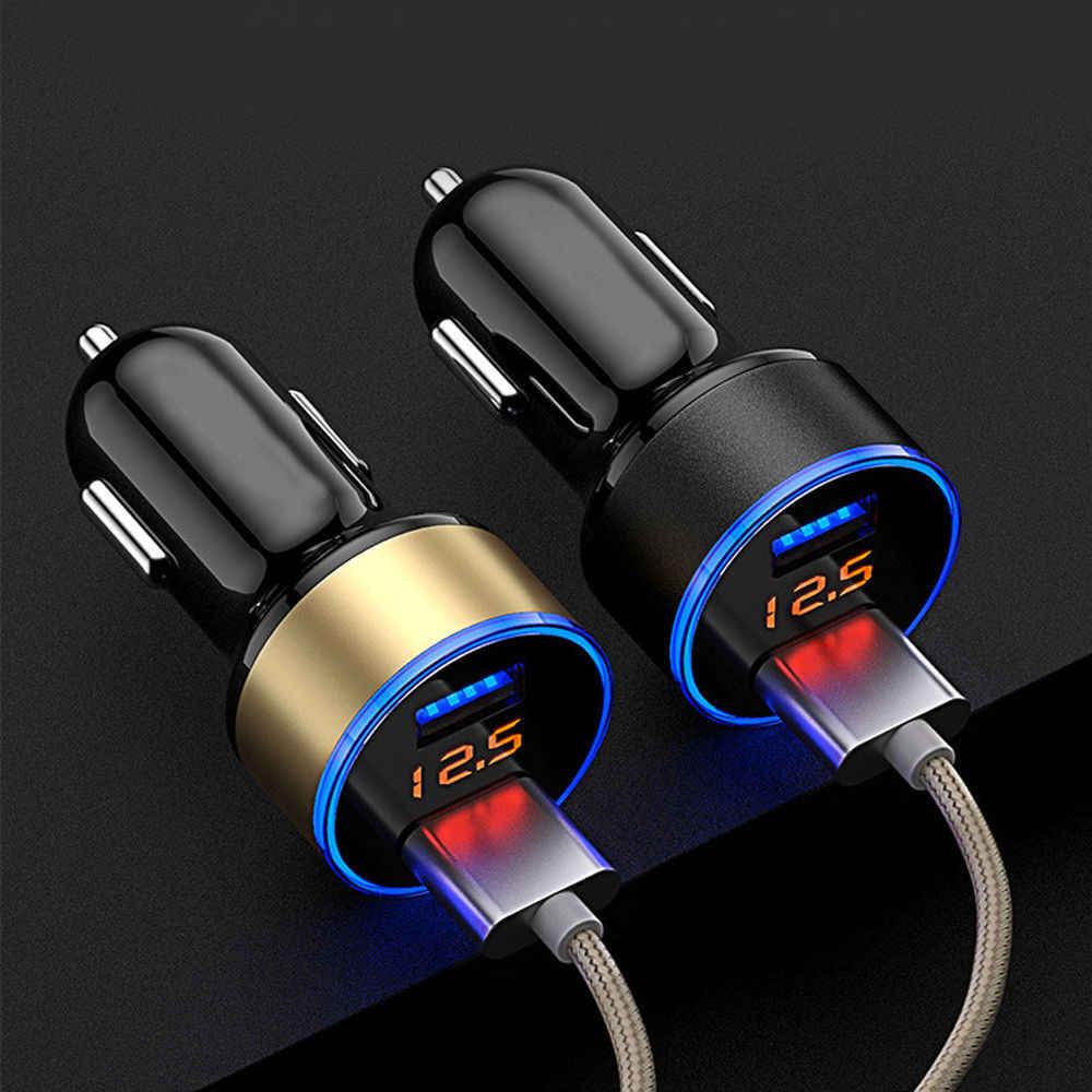 デュアル USB 3.1A 車の充電器 2 ポート lcd ディスプレイ 12-24 12v のシガーライター高速車の充電器カーアダプター iphone サムスン Huawei 社