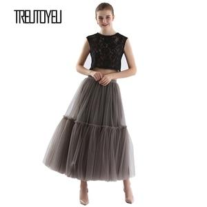 Image 5 - Treutoyeu ออกแบบหรูหรา Tulle จีบกระโปรงสีดำสีเทานุ่มตาข่ายสูงเอว Maxi กระโปรงยาวผู้หญิง Faldas Mujer Moda 2020 jupe