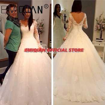 Vestido de noiva Lace Bridal Gown Cheap A Line V Neck Long Sleeves Zipper Back Tulle Bridal Wedding Dress - Category 🛒 Weddings & Events