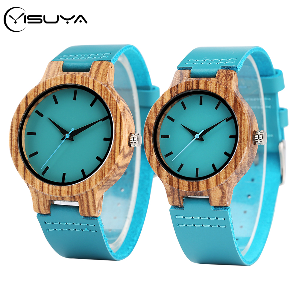 YISUYA Top Luxury Royal Wood Watch Turquoise Blue Fashion Man Natural Bamboo Male Clock Hour Women Leather Valentine's Day Gifts