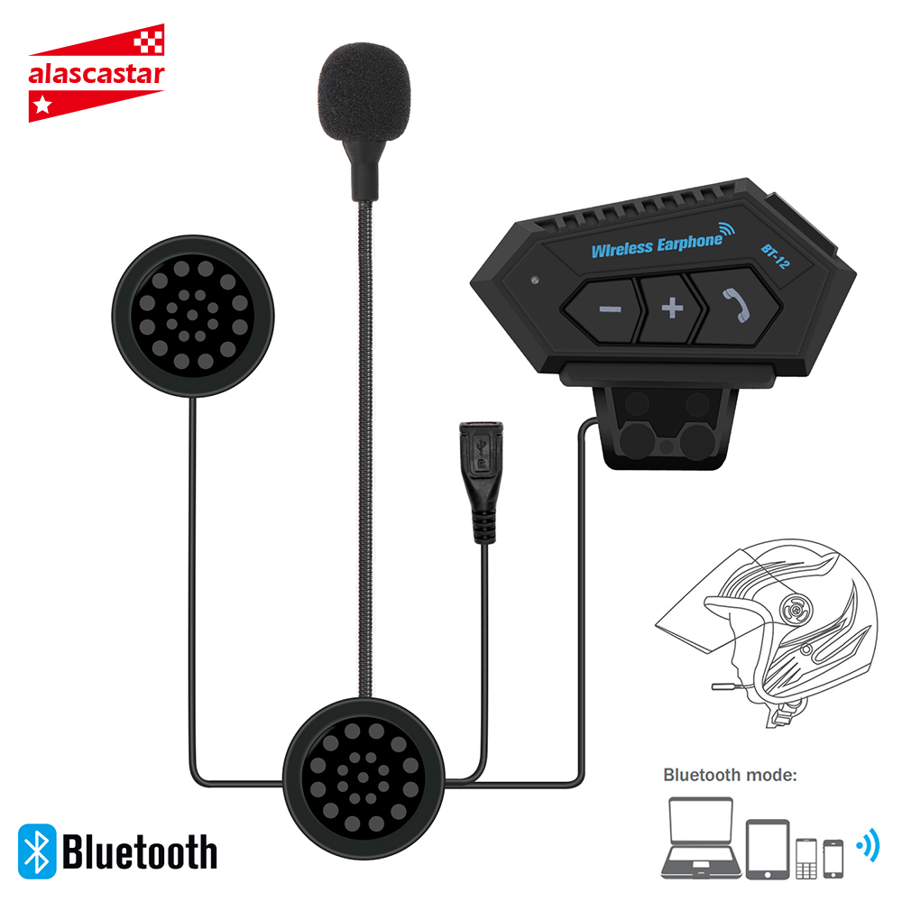 Motorcycle Helmet Headset Wireless Bluetooth Headphone Speaker Handsfree Music Automatic Call Answer Hands-Free BT-12 title=