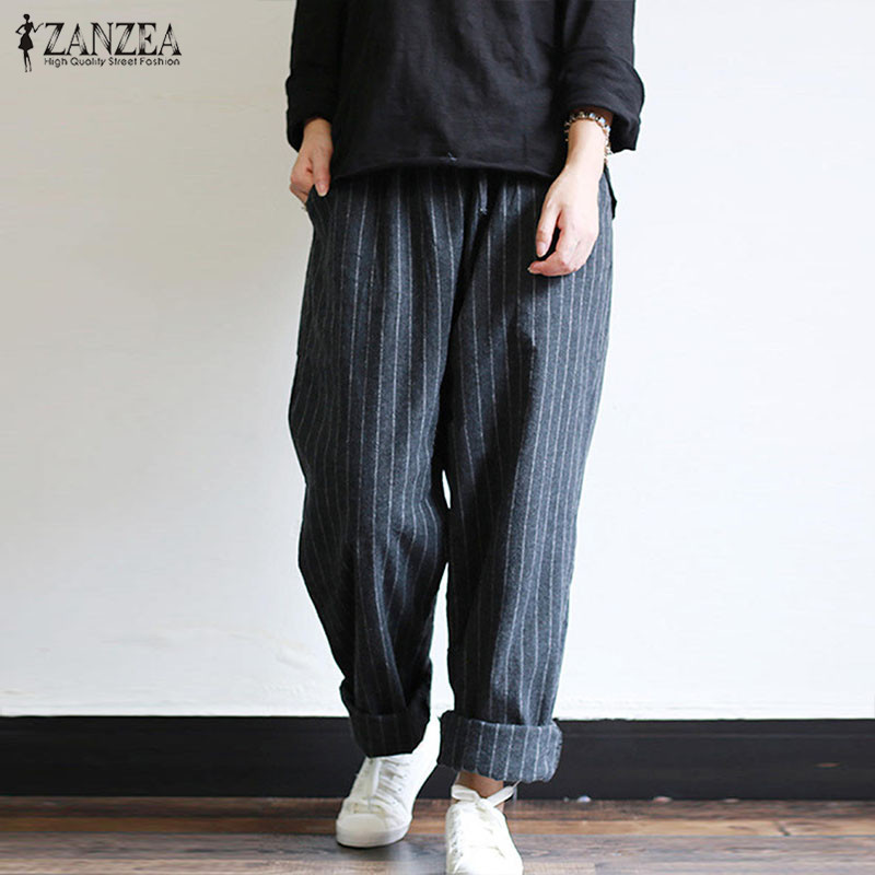ZANZEA Spring Women Striped Pants Oversized Casual Baggy Turnip Long Pantalon Palazzo Autumn Elastic Waist Retro Harem Pants 5XL