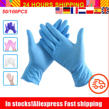 100Pcs Nitrile Gloves Disposable Rubber Gloves Waterproof Puncture-proof Glove For Home Labor Safety Glovesnitrile Gloves