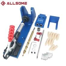 ALLSOME Pocket Hole Jig Kit System Wood Doweling Jig Set Woodworking Puncher Locator