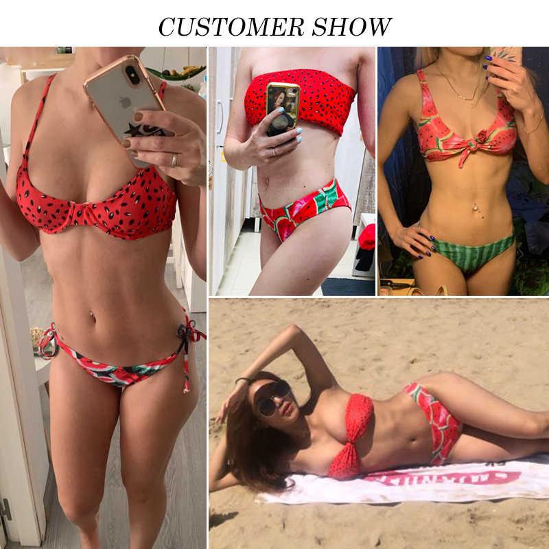 En X-sandía traje de baño mujer Sexy nudo bikinis 2019 mujer Push up traje de baño de las mujeres de los bañistas de verano desgaste de la playa de baño traje Nuevo