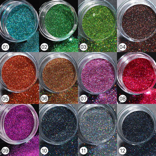1Pc Holographics Nail Powder Glitter Sliver Series Nail Sequins Pigments Nail Art Flakes Decoration DIY Polish Tools 5