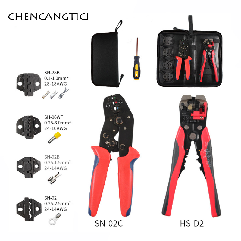 1 kit Insulated Terminals Crimper And Interchangeable Dies For Heat Shrinkable Connector Wire Crimping Tools Ratcheting SN-02C(China)