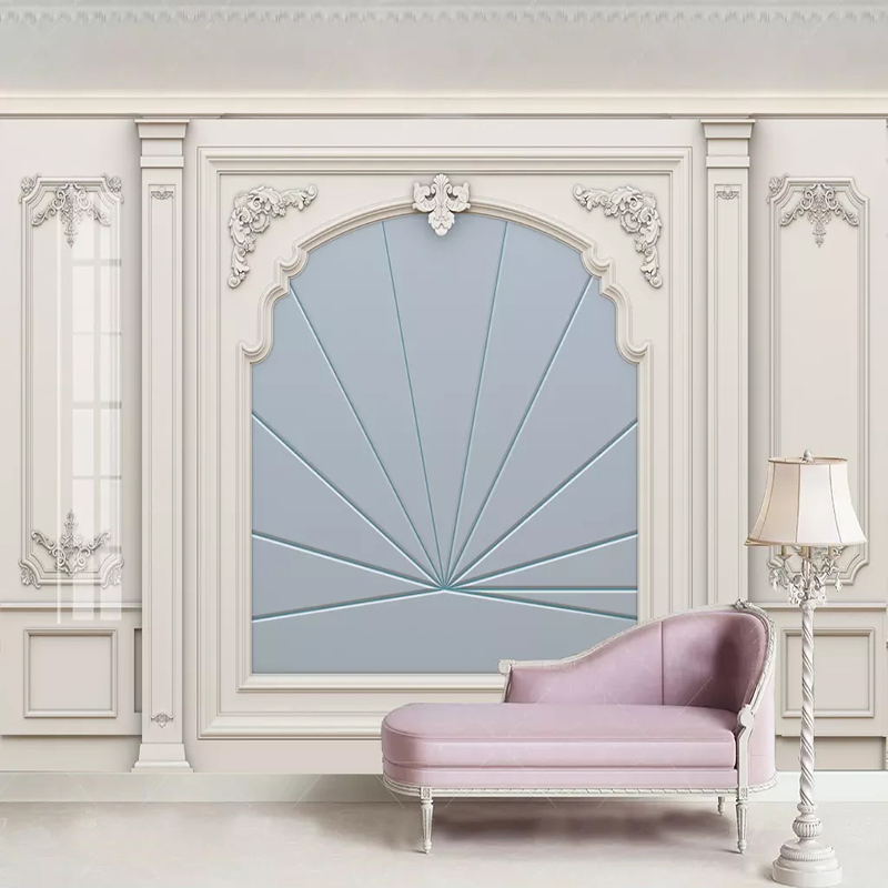 Custom Any Size Mural Wallpaper 3D Stereo White Gypsum Line European Style Carved Wall Painting Living Room Bedroom Home Decor