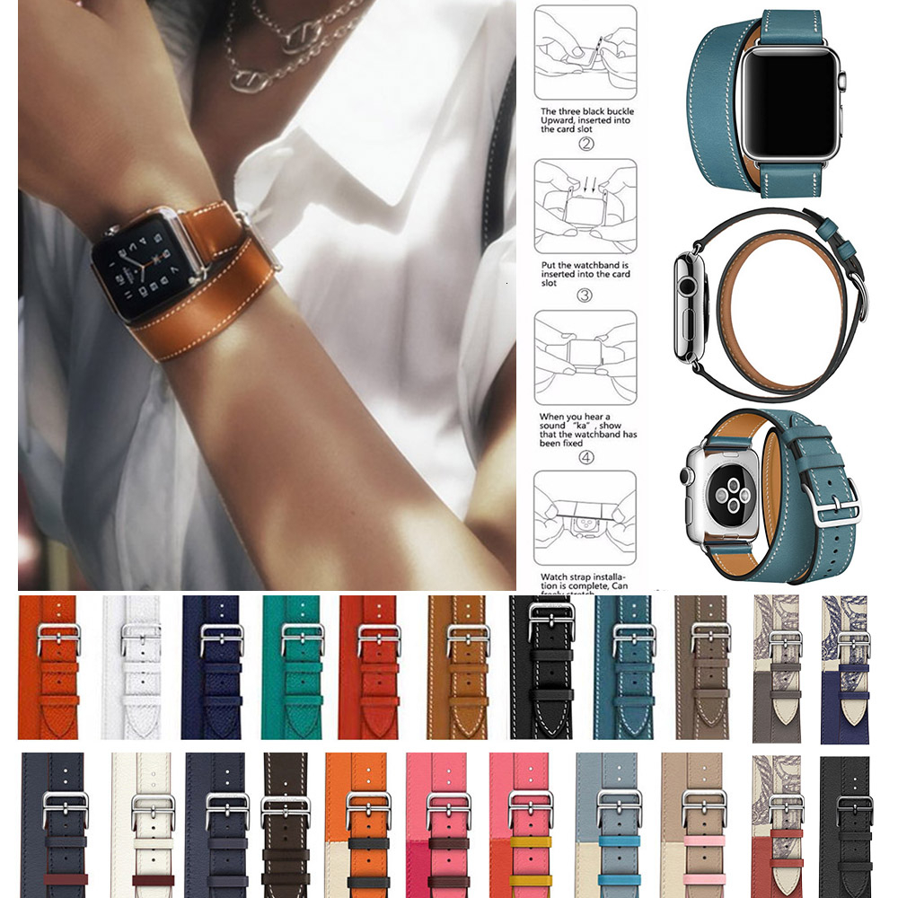 Cow Leather Double Tour Strap For Apple Watch 5 Band 44mm Iwatch Series 4 3 2 1 42mm Loop 38mm Bracelet Replacement 40mm Steel