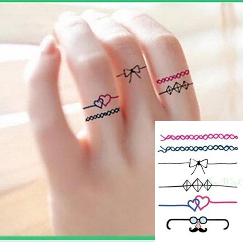 Waterproof Temporary Tattoo Sticker Finger Ring Tattoo Girl Women Small Size Tatto Stickers Flash Tatoo Fake Tattoos