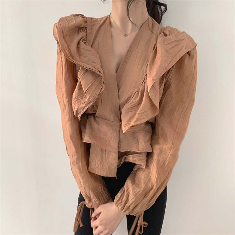 HziriP Stylish Pleated Ruffles Sexy Solid Tops Casual New 2020 All-Match Retro Slimming V-neck Women Office Lady Brief Shirts
