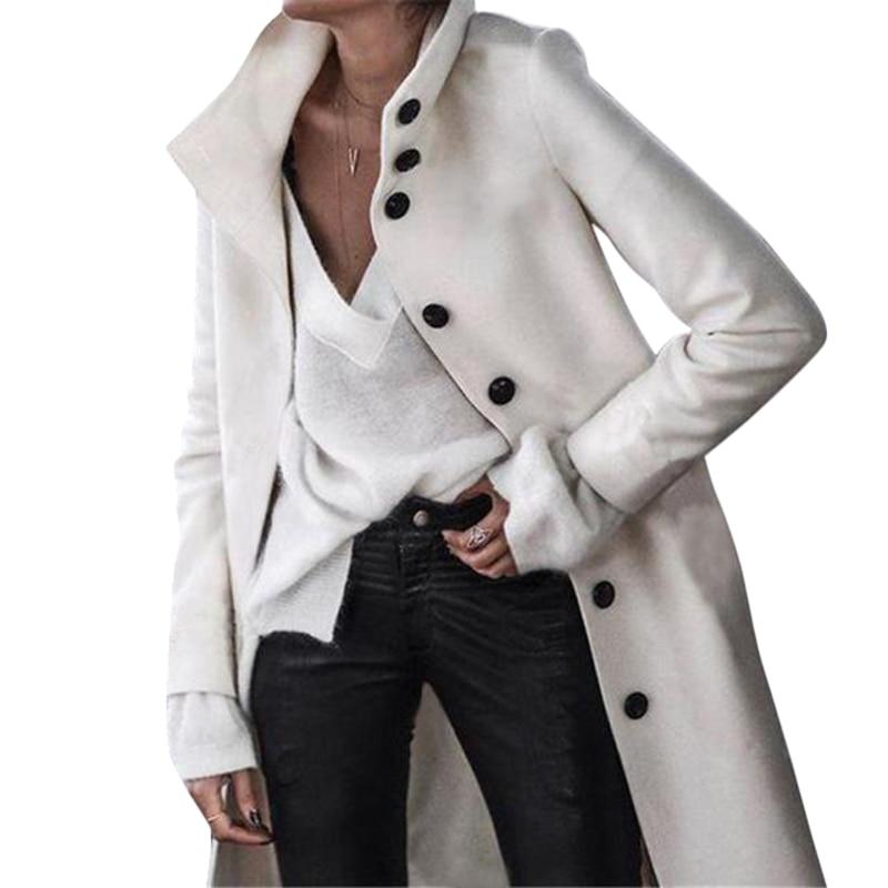 Women Autumn Winter Woollen Coat Long Sleeve Turn-Down Collar Oversize Outwear Jacket Elegant Overcoats Loose Plus Size Jackets