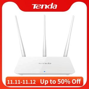 Image 1 - Tenda f3 300mbps 2.4g roteador wifi repetidor, interface inglês 1wan + 3lan portas, para casa pequena e média