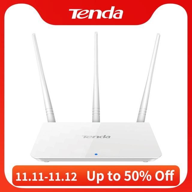 Tenda f3 300mbps 2.4g roteador wifi repetidor, interface inglês 1wan + 3lan portas, para casa pequena e média