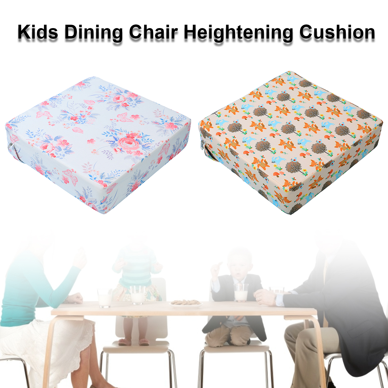 Children's Dining Chair Heightening Cushion Baby Learning Cushion Folding Washable Adjustable Student Seat Cushion