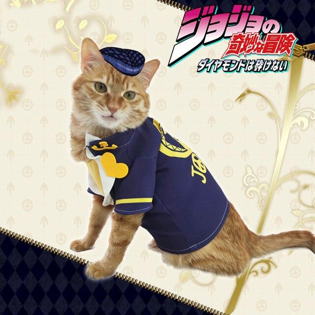 Anime JoJo's Bizarre Adventure Higashikata Josuke Cat Cosplay Costume T-shirt Cute Dog Clothing Pet supplies Photo prop Gifts 2