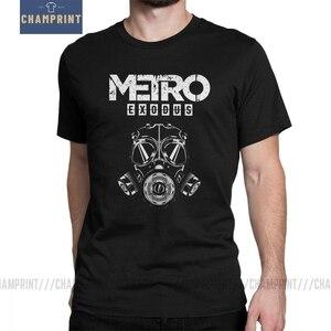 Image 1 - Men T Shirt Metro Exodus T Shirts Gas Mask Toxic Games Gaming Artyom Haunter Short Sleeves Tees Round Neck clothing Pure Cotton