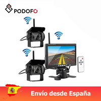 Podofo Wireless 7 Vehicle Monitor Parking Assistance + Waterproof IR Night Vision Car Rearview Backup Camera For RV Truck Bus