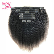Halo Lady Dubbele Inslag 100% Remy Human Hair Volledige Hoofd Afro Kinky Straight Braziliaanse Clip Ins Extensions 8 Stuks 17clips Yaki Haar(China)