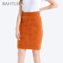 BAHTLEE Women Angora Straight Skirt Knee Lengh Empire Solid Autumn Winter Wool Knitted Jumper Suit  Basic Style
