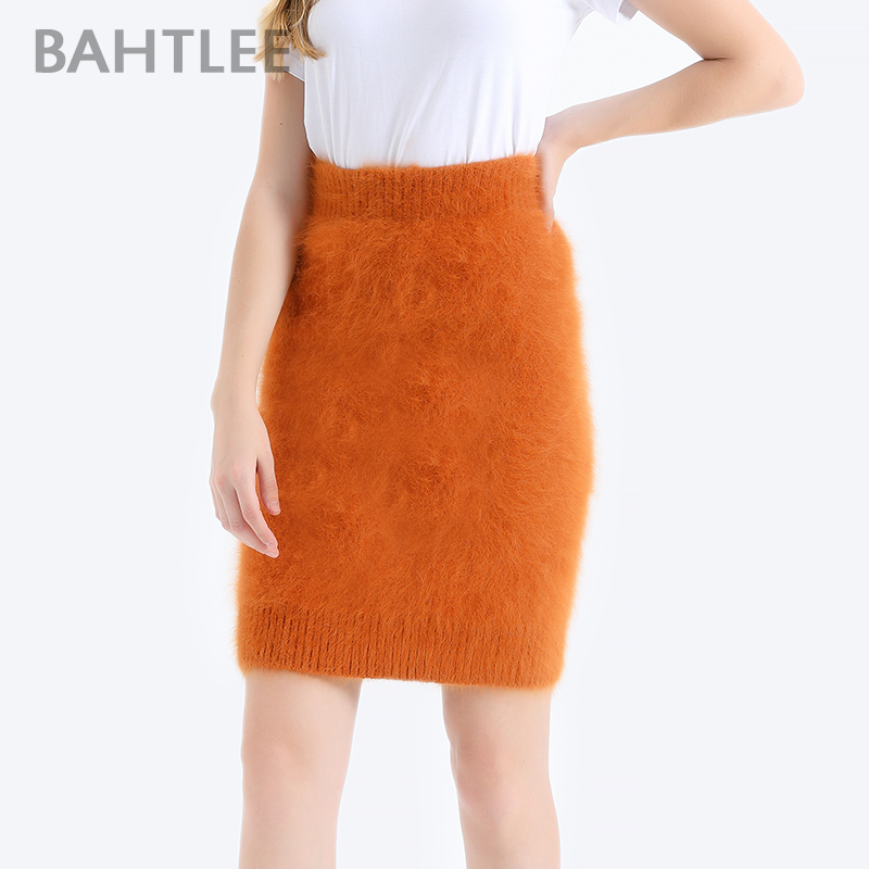 BAHTLEE Women Angora Straight Skirt Knee-Lengh Empire Solid Autumn Winter Wool Knitted Jumper Suit  Basic Style