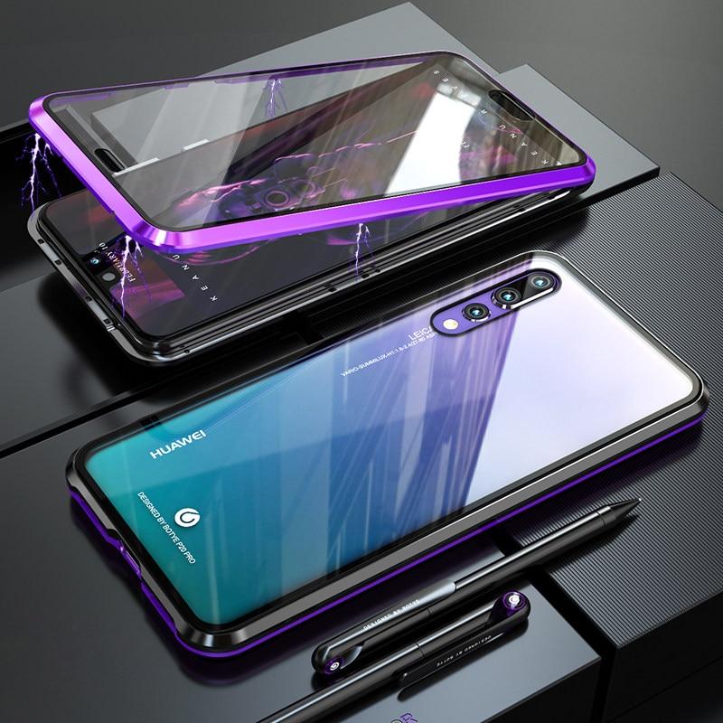 Magnetic luxo Metal Bumper Case For Huawei P20 Pro Tampa 360 de Vidro Transparente de Corpo Inteiro Caso a Caixa Do Telefone Huawei P20 P 20 P20Pro estojo