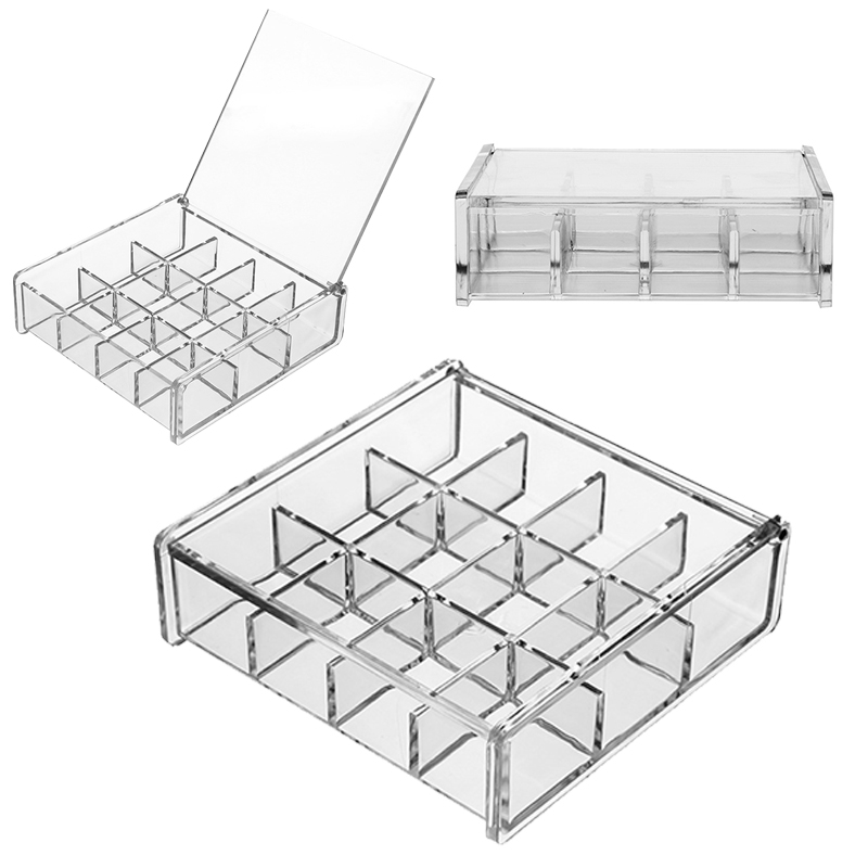 Acrylic Tea Bag Box System Kitchen Jewelry Organizer Storage Box 12 Compartments Make Up Box Coffee Suger Packet Container