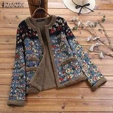 Jackets Coats Outwear Long-Sleeve Printed Floral Vintage Fluffy Plus-Size Women ZANZEA