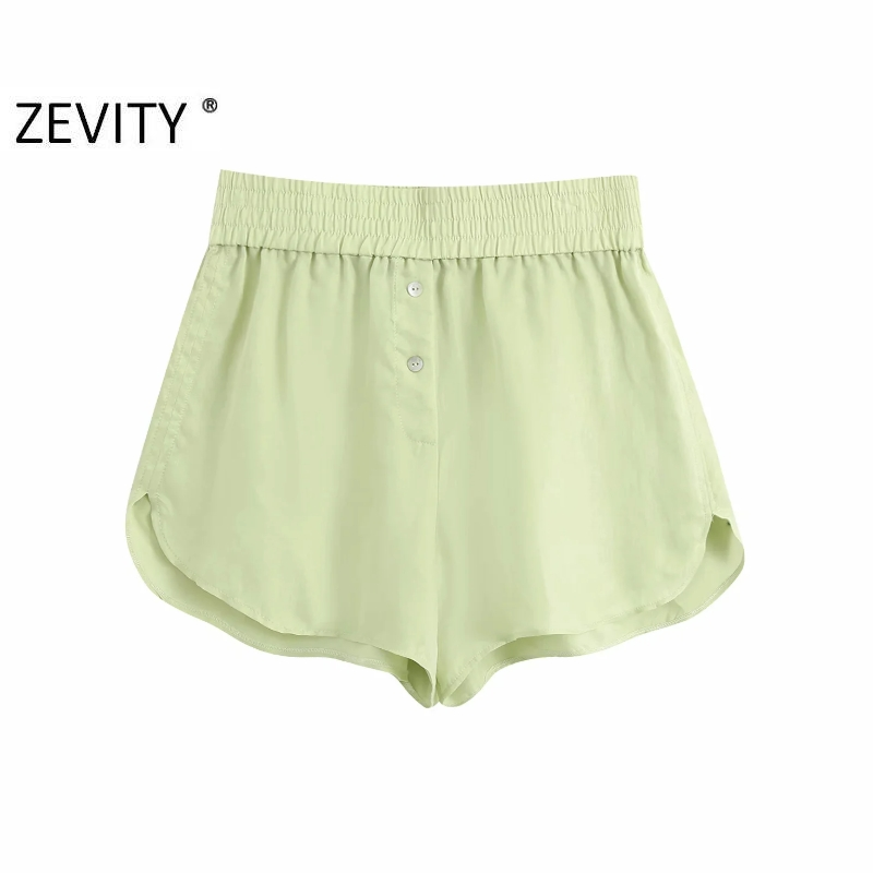 Zevity New women fashion candy color casual Bermuda Shorts ladies summer chic elastic waist hot shorts pantalone cortos P887 1