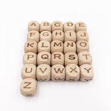 Can pick26 шт Квадратные бусины Алфавит буквы Бук деревянные