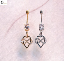 Heart Style Belly Piercing Shiny Navel Piercing Stainless Steel Fake Belly Button Ring Sex Body Jewelry