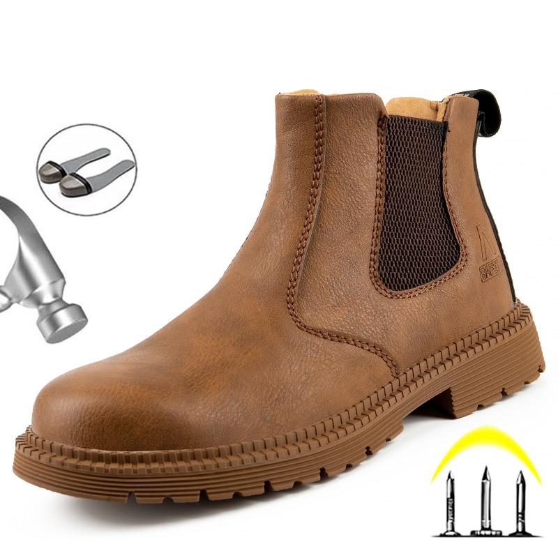 Мужские ботинки, защитная обувь, стальной носок, защита от ударов, Рабочая защитная обувь, зимняя обувь, ботинки челси, рабочая обувь, Мужска...