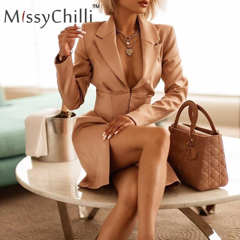 MissyChilli Khaki Sexy V Neck Blazer Dress Women Autumn Winter Bodycon Elegant Office Coat Female High Waist Streetwear Blazer
