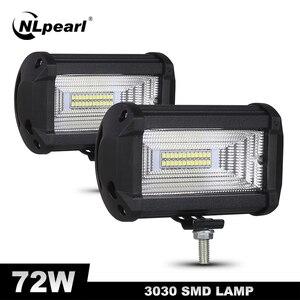 Image 1 - Nlpearl 5 אינץ 72W אור בר/עבודת אור ספוט & מבול קרן LED עבודה אור ערפל מנורת עבור מכביש משאית סירת טרקטורונים LED אור בר 12V