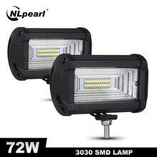Nlpearl Barra de luz LED antiniebla DE TRABAJO, foco de trabajo, 5 pulgadas, 72W, 12V, para camión, barco, ATV