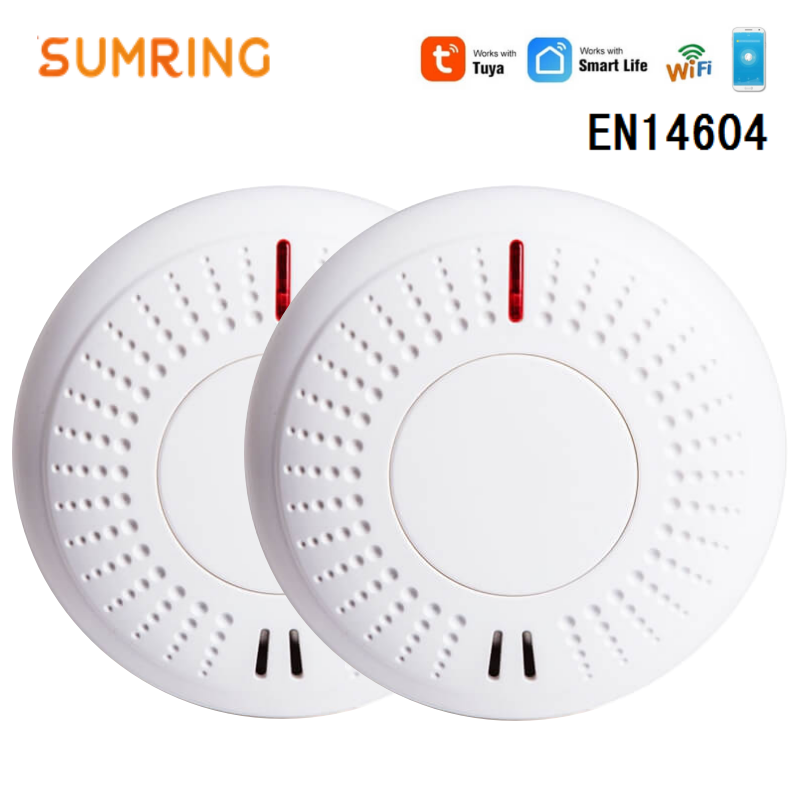 WiFi Smoke Detector Sensor, Support Android / IOS Systems Smoke Security Alarm Fire Detector EN14604