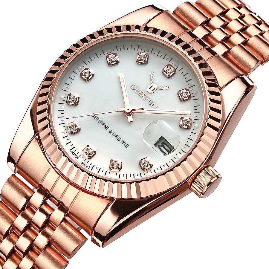 Famous Brand  Luxury  Steel Metal Band ROSE GOLD  Bracelet Watch For Fashion Men And Women Gift Dress Watches Relogio Masculino