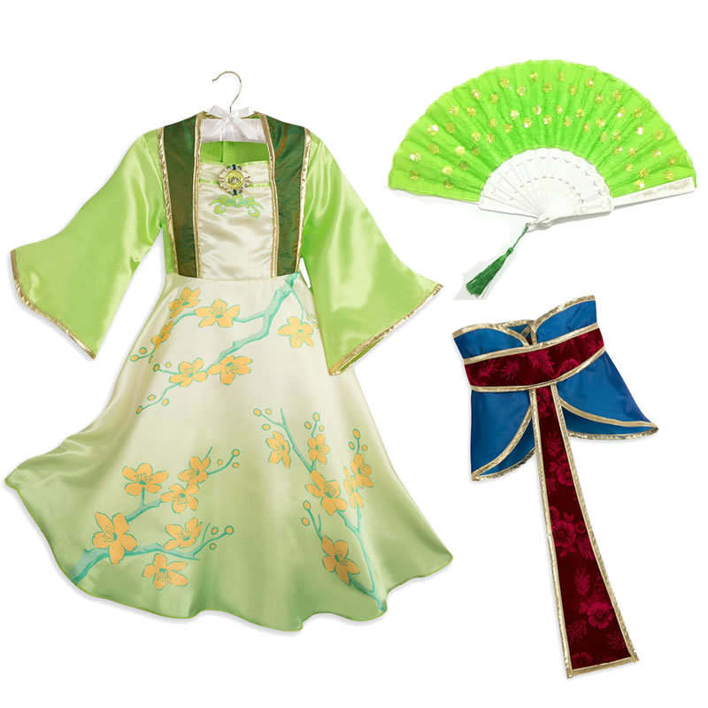 2020 Mulan Costume For Teen Girl Dress Fashion Easter Kid Cosplay Frock Belt Fan Disguise Outfit Children S Party Princess Tunic Aliexpress