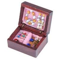 1 Uds joyero de madera Retro Para casa de muñecas, juguetes para muñecas, Miniaturas 1:12, muebles para casa de muñecas, Kit de accesorios