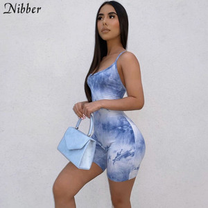 Nibber sexy Bandage hollow graphic playsuits women stretch casual streetwear female sling short jumpsuits 2020 summer playsuits