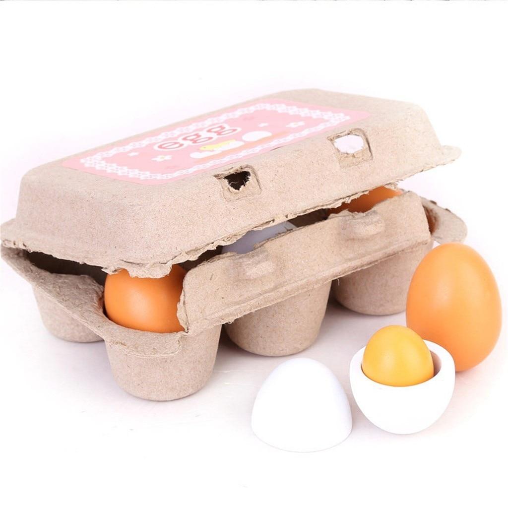 6 pçs simulação ovos conjunto de brinquedos de madeira crianças cozinha fingir jogar madeira alimentos ovos brinquedos conjunto crianças educação precoce montessori brinquedos|Brinquedos de cozinha|   -