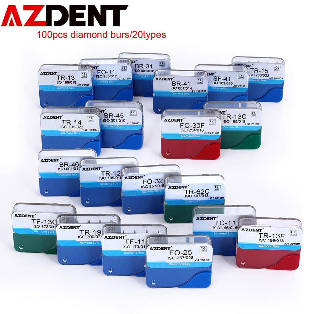 100pcs/20box (5pcs/box) Dental Diamond Burs For High Speed Handpiece Medium FG 1.6MM