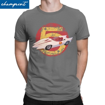 Mach 5 Distressed T Shirts Men's Pure Cotton Novelty T-Shirts Speed Racer Anime Tee Shirt Short Sleeve Clothing Printed - discount item  40% OFF Tops & Tees