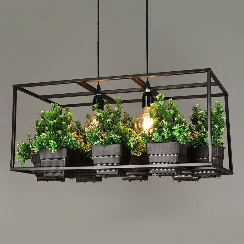 Modern Simple Wood&Iron Chandelier Lighting 3 Kinds Wrought Iron Plant Pot Bar Restaurant Balcony Creative Suspension Lamp Light