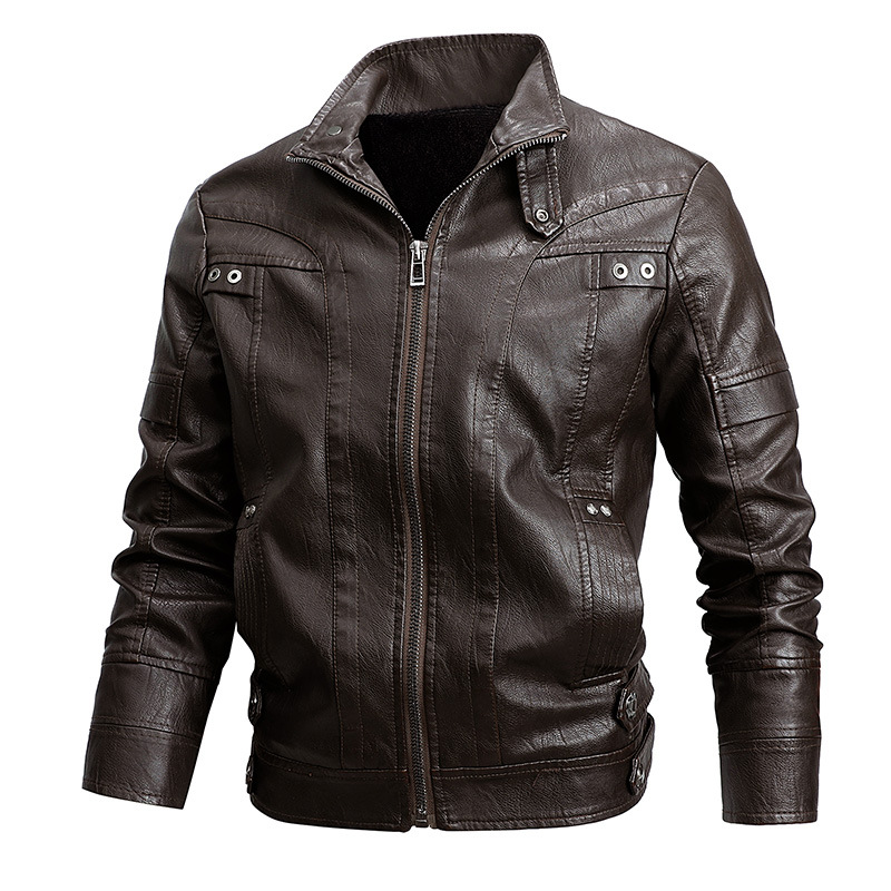 Mens Leather Jacket Autumn Winter New PU Leather Jacket Coat Classic Stand Collar Cowboy Motorcycle Leather Jackets Male Clothes