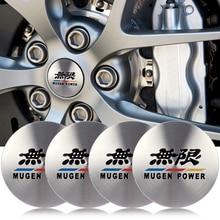 4 pçs 56mm logotipo do carro emblema roda de alumínio centro hub tampa aro capa adesivos decalques acessórios automóveis estilo para mugen potência