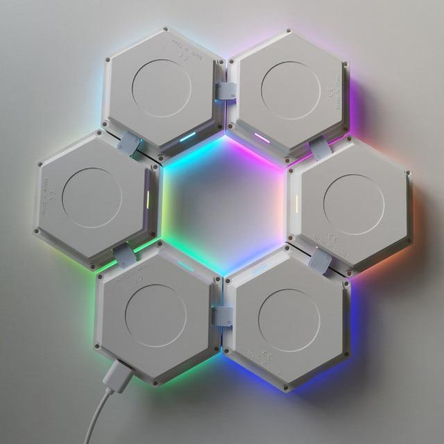 INS télécommande nid dabeille assemblage modulaire Helios tactile applique RGB lampe quantique LED applique murale magnétique lampe de chambre